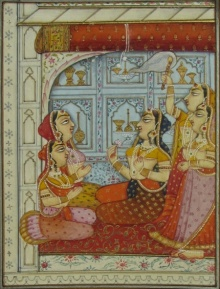 Traditional Indian art title Mughal Princess At Palace on Paper - Mughal Paintings