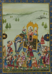 E Craft | Mughal Traditional art title Mughal Procession on Silk | Artist E Craft Gallery | ArtZolo.com