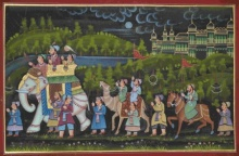 Traditional Indian art title Mughal Procession With Camel And Horse on Silk - Mughal Paintings
