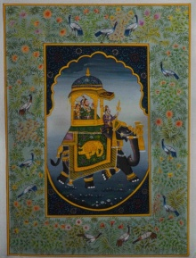 Traditional Indian art title Mughal Queen On Ambari 3 on Silk - Mughal Paintings