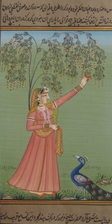Traditional Indian art title Mughal Queen With Peacock 1 on Paper - Mughal Paintings