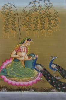 Traditional Indian art title Mughal Queen With Peacock 2 on Paper - Mughal Paintings