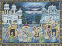 Traditional Indian art title Mughal Royal Procession on Silk - Mughal Paintings