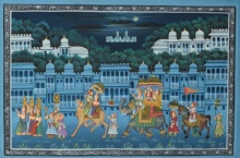 Traditional Indian art title Mughal Royal Procession At Night With Mo on Silk - Mughal Paintings