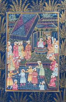 Traditional Indian art title Mughal Sabha 2 on Silk - Miniature Paintings