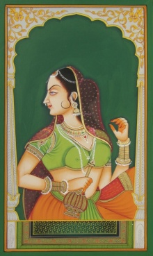 Traditional Indian art title Mughal Women on Paper - Miniature Paintings