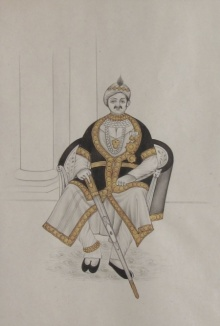 Traditional Indian art title Nawab On Royal Throne on Paper - Mughal Paintings