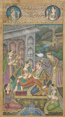 Traditional Indian art title Passionate Mughal Love Scene on Paper - Mughal Paintings