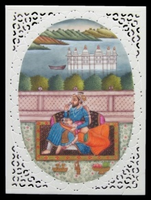 Traditional Indian art title Platonic Love Of Mughal on Plastic Sheet - Mughal Paintings