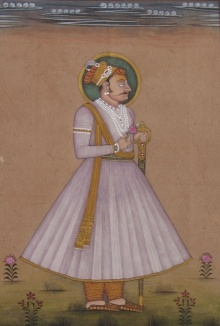 Traditional Indian art title Portrait Of Mughal Prince on Paper - Mughal Paintings