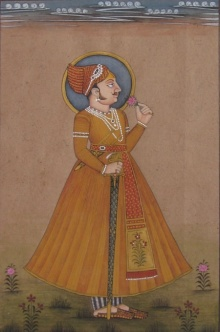 Traditional Indian art title Prince With Sword on Paper - Mughal Paintings
