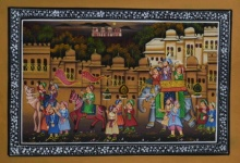 Traditional Indian art title Procession In Town With Royal Elephants on Silk - Mughal Paintings
