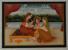 Traditional Indian art title Queen Admiring Self In Mirror on Silk - Mughal Paintings