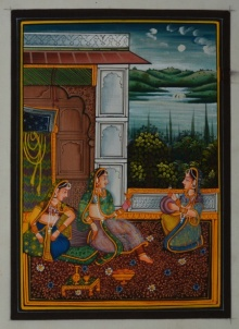 Traditional Indian art title Queen Entertained By Sevikas on Silk - Mughal Paintings