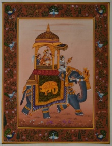Traditional Indian art title Queen On Ambaari on Silk - Mughal Paintings