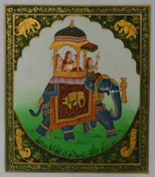 Traditional Indian art title Queen On Elephant on Silk - Mughal Paintings
