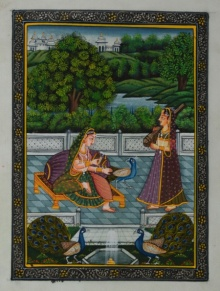 Traditional Indian art title Queen Playing With Peacocks on Silk - Mughal Paintings
