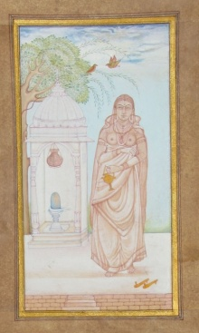 Traditional Indian art title Queen Praying To Lord Shiva on Paper - Mughal Paintings