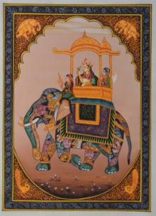 Traditional Indian art title Queen Riding Royal Elephant on Silk - Mughal Paintings