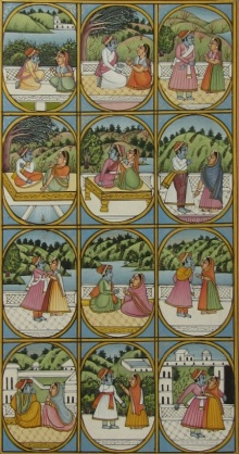 Traditional Indian art title Radha Krishna on Paper - Miniature Paintings