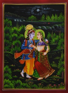 Traditional Indian art title Radha Krishna on Silk - Miniature Paintings