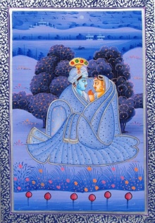 Unknown | Miniature Traditional art title Radha Krishna 1 on Silk | Artist Unknown Gallery | ArtZolo.com