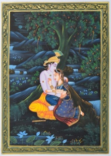 Traditional Indian art title Radha Krishna Divine Love on Silk - Miniature Paintings