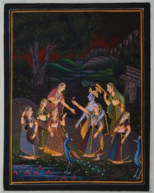 Traditional Indian art title Radha Krishna Entertained By Gopis on Silk - Miniature Paintings