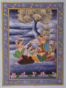 Traditional Indian art title Radha Krishna Entertained By Gopis In La on Silk - Miniature Paintings