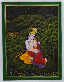 Traditional Indian art title Radha Krishna In Lawn on Silk - Miniature Paintings