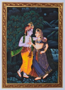 Traditional Indian art title Radha Krishna Moments on Silk - Miniature Paintings