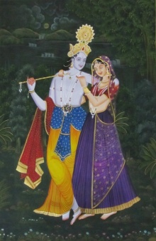 Traditional Indian art title Radha Krishna Playing Flute on Silk - Miniature Paintings