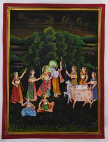 Traditional Indian art title Radha Krishna Raas Leela on Silk - Miniature Paintings