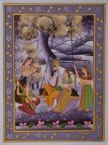 Traditional Indian art title Radha Krishna Swinging on Silk - Miniature Paintings