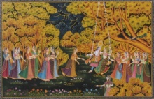 Traditional Indian art title Radha Krishna Swinging Surrounded By Gop on Silk - Miniature Paintings