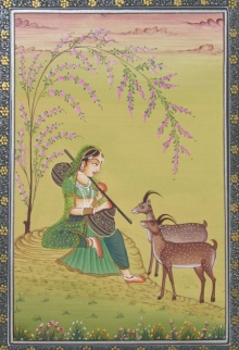 Traditional Indian art title Ragini on Paper - Miniature Paintings