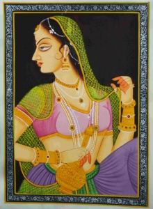 Traditional Indian art title Ragini on Silk - Mughal Paintings