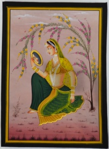Unknown | Mughal Traditional art title Ragini Admiring Self In Mirror on Silk | Artist Unknown Gallery | ArtZolo.com
