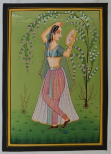 Traditional Indian art title Ragini Admiring Self In Mirror on Silk - Miniature Paintings