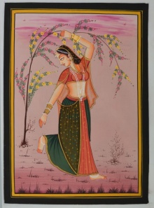 Traditional Indian art title Ragini Holding A Tree Branch on Silk - Miniature Paintings