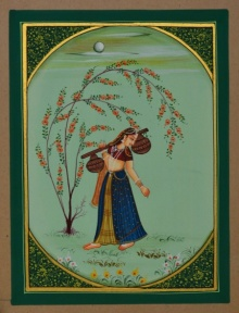 Traditional Indian art title Ragini Musical Instrument on Paper - Miniature Paintings