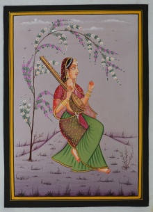 Traditional Indian art title Ragini Playing Ektara on Silk - Miniature Paintings