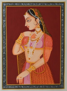 Traditional Indian art title Ragini Shying on Silk - Miniature Paintings