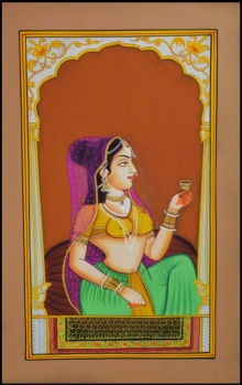Traditional Indian art title Ragini Sitting Pretty on Paper - Mughal Paintings