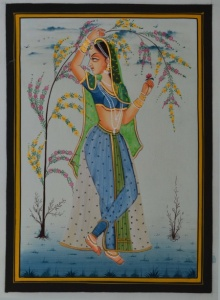 Traditional Indian art title Ragini Waiting on Silk - Miniature Paintings