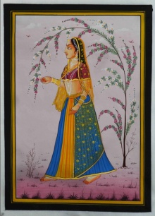 Traditional Indian art title Ragini With A Tree Branch on Silk - Mughal Paintings