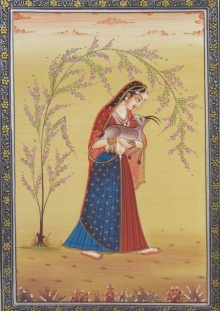 Unknown | Miniature Traditional art title Ragini With Deer on Paper | Artist Unknown Gallery | ArtZolo.com