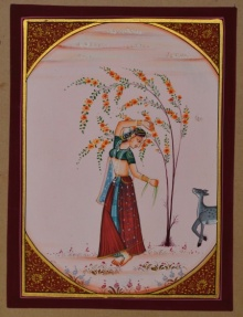 Traditional Indian art title Ragini With Deer on Paper - Miniature Paintings