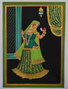 Traditional Indian art title Ragini With Flower on Silk - Mughal Paintings