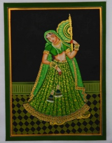 Unknown | Mughal Traditional art title Ragini With Hand Fan on Silk | Artist Unknown Gallery | ArtZolo.com